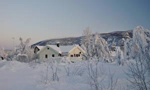 Картинка Норвегия Городки Здания Зимние Снег Rokland