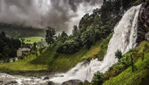 Фотография Норвегия Водопады Скала Mo Hordaland Природа