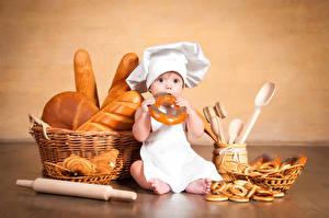 Обои Выпечка Хлеб Младенцы Повар Шапки Корзинка ребёнок