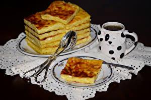 Фотография Выпечка Чай Пирог Чашка Тарелка Продукты питания