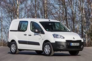 Обои Peugeot Белая Минивэн 2013-15 Partner Van Electric Автомобили