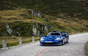 Картинки Порше Синий Металлик Скорость 1997 911 GT1 Straßenversion Авто