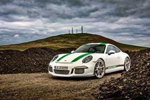 Обои Порше Белая Купе Turbo 911 автомобиль