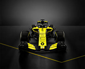 Фотографии Рено Формула 1 Сером фоне Спереди 2018 R.S.18 авто Спорт