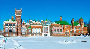 Фото Россия Дома Замок Зимние Снега Sheremetev castle Yurino Mari El город