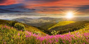 Картинка Пейзаж Рассветы и закаты Леса Холмы