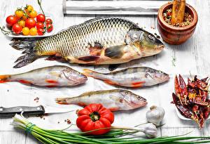 Картинка Морепродукты Рыба Томаты Чеснок Приправы Доски