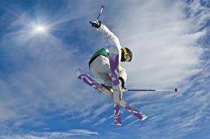 Картинки Лыжный спорт Мужчины Прыжок Спорт