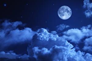 Фото Небо Ночные Луна Облака