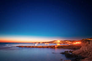 Картинки Испания Берег Море Вечер Небо San Antonio Ibiza