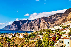 Обои Испания Здания Побережье Канарские острова Скале Tenerife город