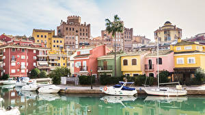 Картинка Испания Здания Пирсы Корабли Катера Port Saplaya Alboraya Города
