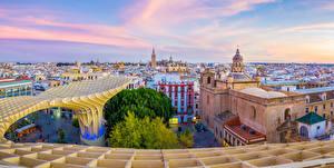 Обои Испания Здания Храмы Городская площадь Seville Andalusia