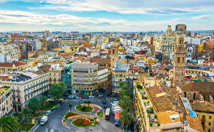 Картинка Испания Здания Городская площадь Крыша Valencia Города