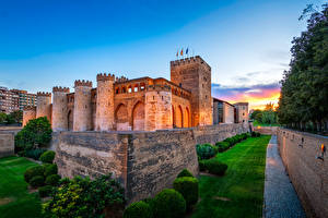 Фотография Испания Дворца Газон Кустов Aljafería Palace Zaragoza Города