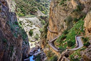 Фотографии Испания Дороги Реки Каньон Скала Caminito del Rey canyon Malaga Природа