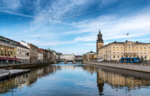 Обои Швеция Дома Речка Мосты Gothenburg