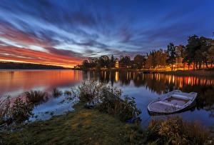 Обои Швеция Речка Рассветы и закаты Лодки Деревья