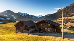 Фото Швейцария Горы Здания Альпы Chateau-d'Oex Города