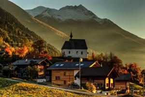 Картинки Швейцария Горы Здания Steinhaus Goms Wallis