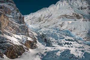 Картинка Швейцария Горы Зимние Альпы Снег Eigergletscher Природа