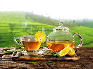 Картинки Чай Чайник Лимоны Чашка Пища
