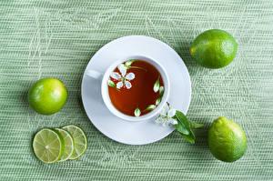 Фотография Чай Лайм Цветной фон Чашка Блюдце Продукты питания