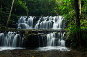 Фотографии Таиланд Парки Водопады Леса Скала Sam lan waterfall Природа