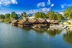 Фотография Таиланд Тропики Дома Реки Причалы Kanchanaburi Города