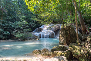 Фото Таиланд Тропики Парки Водопады Камень Деревья Мох Erawan Falls Kanchanaburi Природа