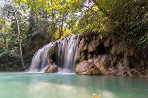 Фотографии Таиланд Тропики Водопады Утес Ветки Erawan Falls Kanchanaburi Природа