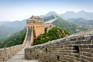 Картинки Китай Великая Китайская стена Горы Забор Природа