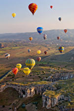 Фотографии Турция Поля Воздушный шар Cappadocia Природа