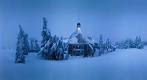 Фото Штаты Здания Вечер Зимние Снег Ель Oregon Города