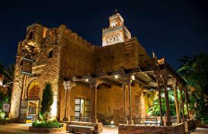 Фотография Америка Парки Здания Флорида Дизайн Кафе Уличные фонари Ночь Disney World Epcot Orlando