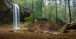 Фото США Парки Водопады Леса Скала Hocking Hills Ohio Природа