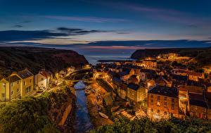 Обои Великобритания Вечер Здания Реки Staithes Yorkshire Города
