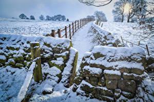 Картинка Великобритания Зима Камни Снег Ограда Yorkshire