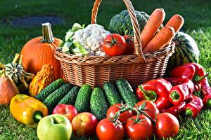 Картинки Овощи Огурцы Помидоры Перец Яблоки Тыква Корзина Продукты питания