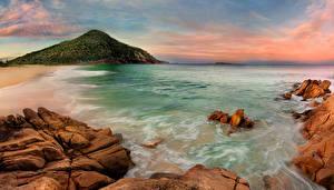 Фотография Австралия Берег Море Камень Волны Утес Port Stephen Природа