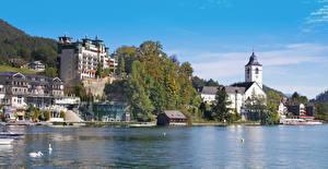 Фотографии Австрия Здания Озеро Берег St. Wolfgang Города