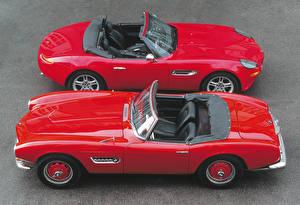 Обои БМВ Старинные Вдвоем Красная Металлик Кабриолета машины