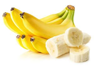 Картинки Бананы Крупным планом Белый фон Еда
