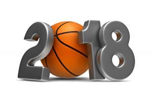 Фотография Баскетбол Белым фоном 2018 Мячик спортивный