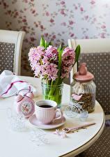 Картинка Букет Гиацинты Часы Кофе Банки Чашке Еда Цветы