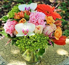 Фотография Букеты Розы Орхидеи Пионы Герберы Ваза Цветы