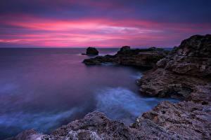 Картинка Болгария Море Побережье Рассветы и закаты Скала Природа