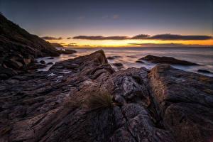 Обои Чили Берег Рассветы и закаты Камень Costa de Valdivia