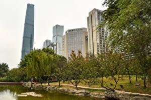 Фото Китай Здания Парки Пруд Дерева Guangzhou Города