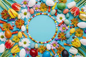 Обои Пасха Тюльпаны Хризантемы Конфеты Яйца